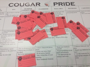 Teachers hand out PRIDE Paws when students follow the behavior expectations of the Cougar PRIDE matrix. Drawings are held each week and prizes are awarded to Paw recipients.