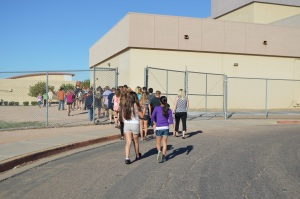 "CCJH students walk to Apache Junction High School to see ""Little Shop of Horrors."""