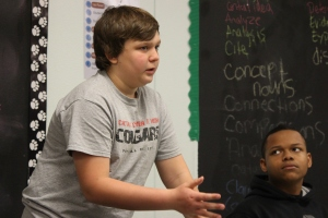 A student presents his case during a debate in Mr. Leal's class. (Photo by Robin Marshall)